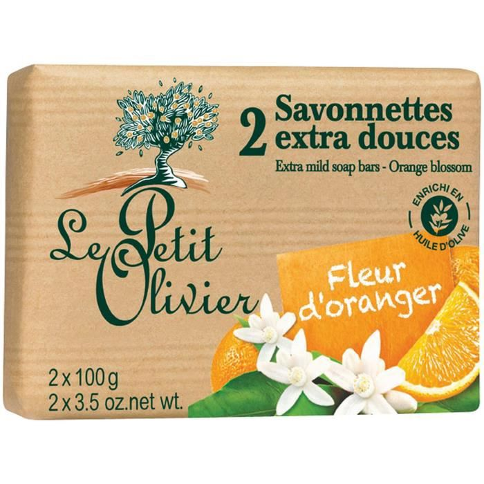 Savonnettes fleur d'oranger 2x100g Le petit olivier