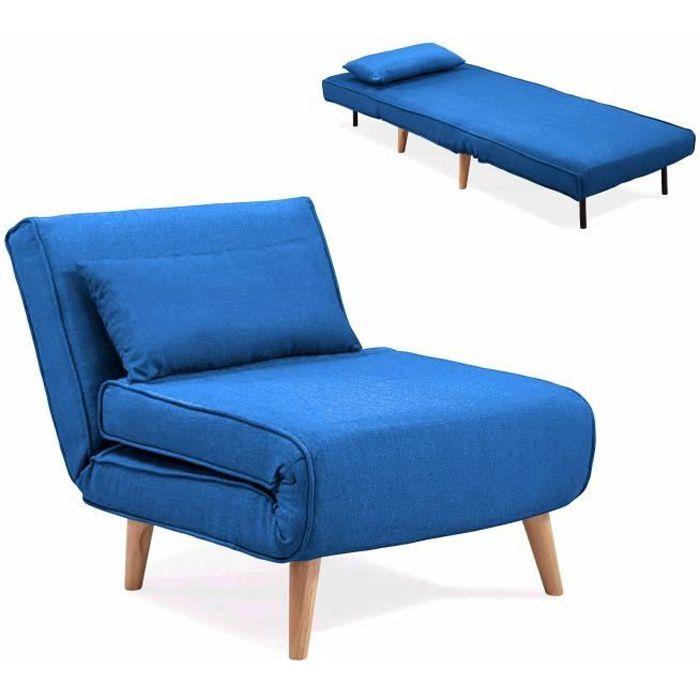 Fauteuil convertible en tissu bleu MAORA