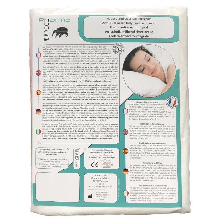 Housse anti-acariens pour matelas 140x190x23 - Dispositif médical