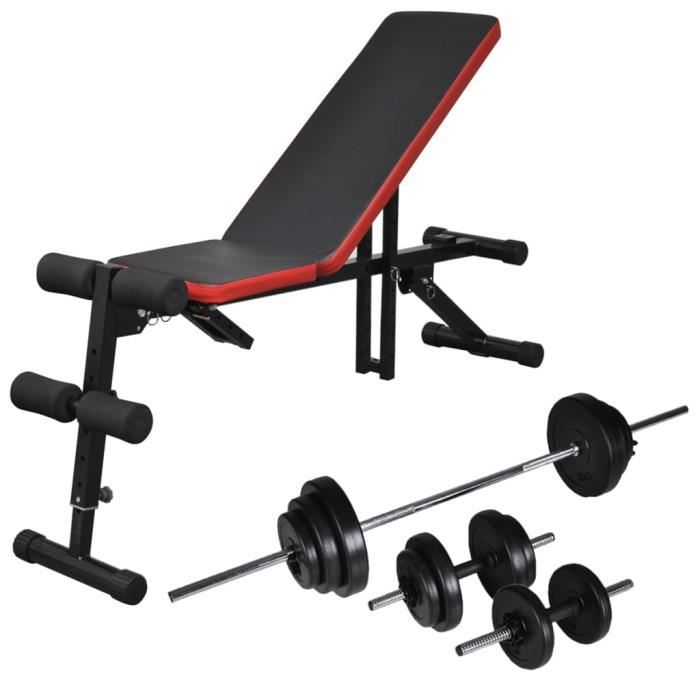 Banc d'entraînement réglable avec jeu d'haltères 30,5 kg - Poids maximal de l'utilisateur : 150 kg