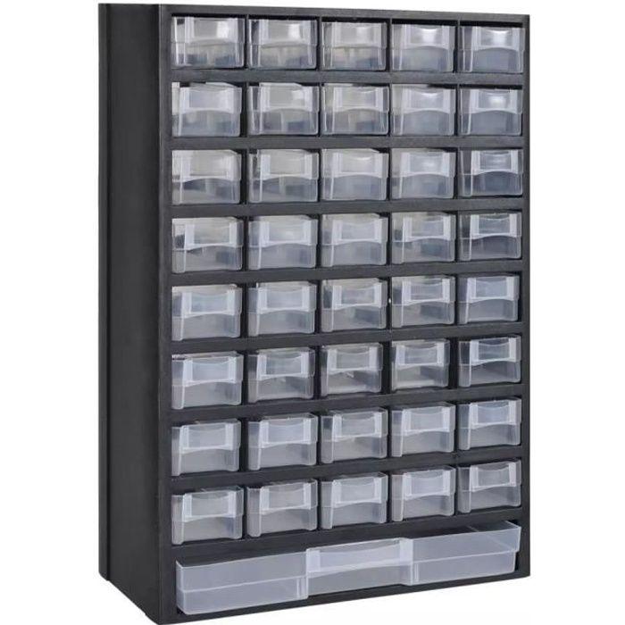 Armoire à outils rangement Servante d'Atelier 31 x 13,8 x 49 cm avec 41 tiroirs Plastique
