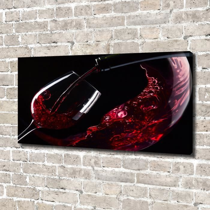 Tulup 140x70 cm art mural - Image sur toile:- Nourriture boissons - Vin Rouge - Rouge