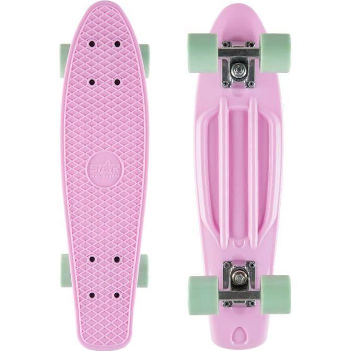 STAR-SKATEBOARDS - Skateboard 60 mm - Vintage Cruiser Board - pour enfants de 8 ans - garçons et filles - Rose