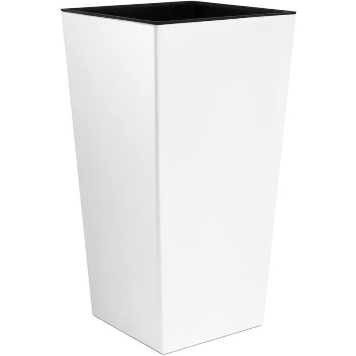 Grand Vase Blanc pour l'intérieur, Vase XL en Plastique de 50 cm avec intérieur de Couleur contrastée, Disponible dans 7 Couleurs