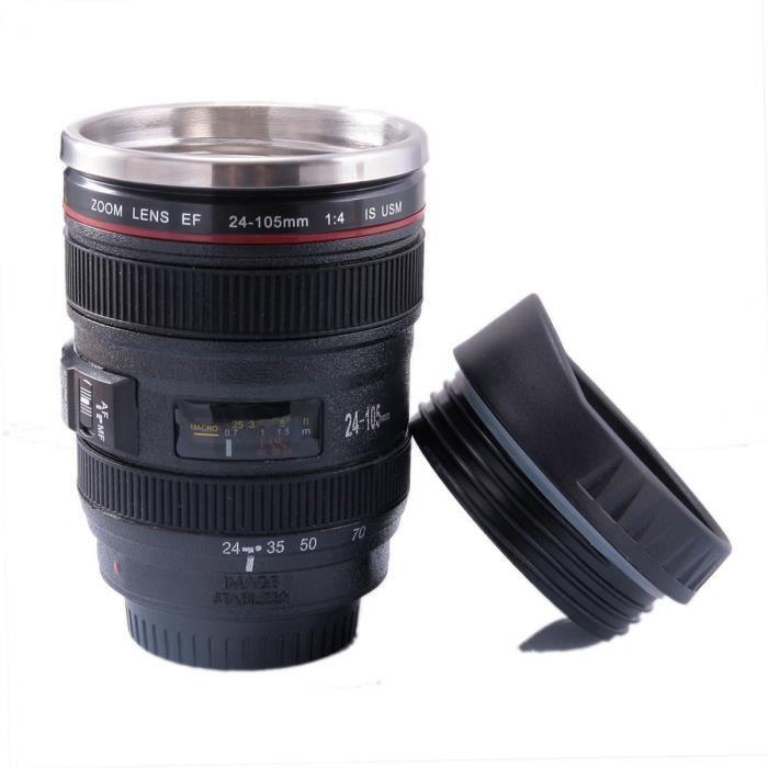 Tasse à café mug original et magique Mug isotherme objectif Thermos café en forme d'objectif photo en acier inox Lot de 1 par