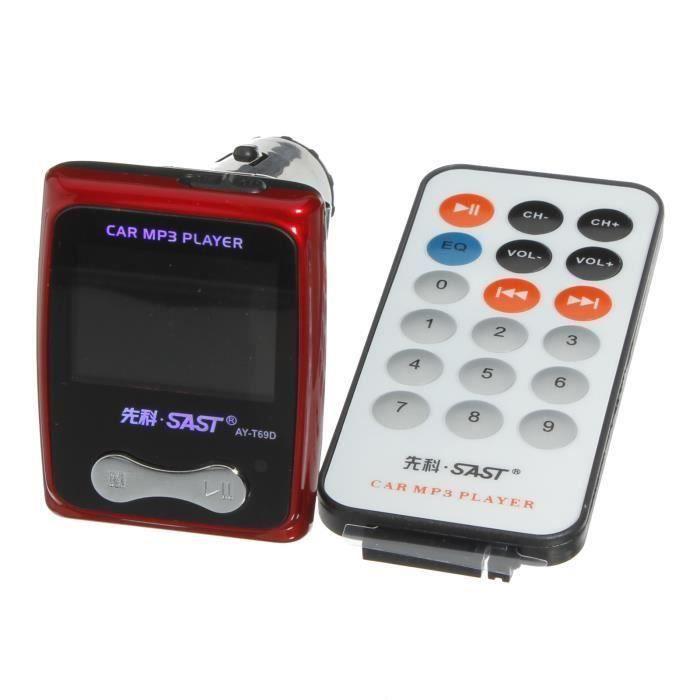 Transmetteur FM pour voiture MP3 Lecteur multimédia SL-605 12V Cigarette Lighter 2GB Rouge Gr90462