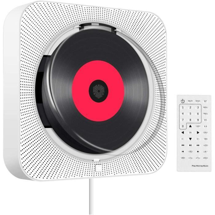 Boombox Lecteur CD/MP3 portable ou à fixer au mur, Bluetooth, enceintes Hi-Fi intégrées, télécommande incluse, radio FM, prise Jack