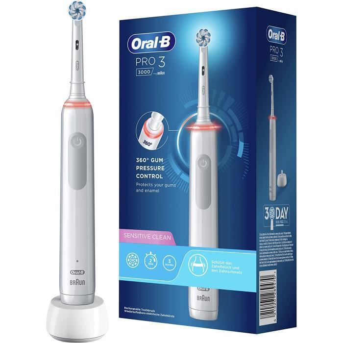 Oral-B PRO 3000 Brosse à Dents Électrique Rechargeable avec 1 Manche Capteur de Pression et 1 Brossette Sensitive Clean, Techno[16]