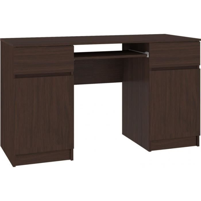 MONA - Bureau informatique moderne 135x77x50 cm - 2 tiroirs + support clavier - Gaming - Table ordinateur multi-rangements - Wenge