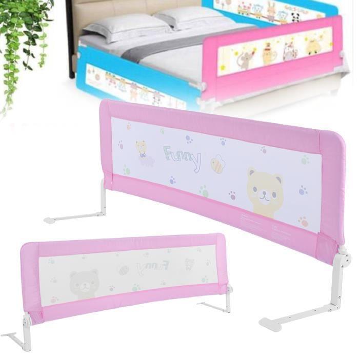 Qutianshop® Pink 180cm Folding Toddler Safety Bed Rail Kids Sleep Guard Protection