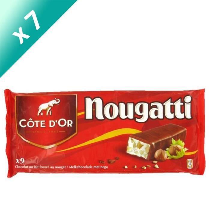 [LOT DE 7] MONDELEZ INTERNATIONAL Barres Chocolat Côte d'Or fourré au nougat - 9x 30 g