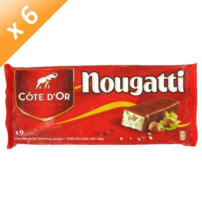 [LOT DE 6] COTE D'OR Barres Chocolat fourré au nougat - 270 g