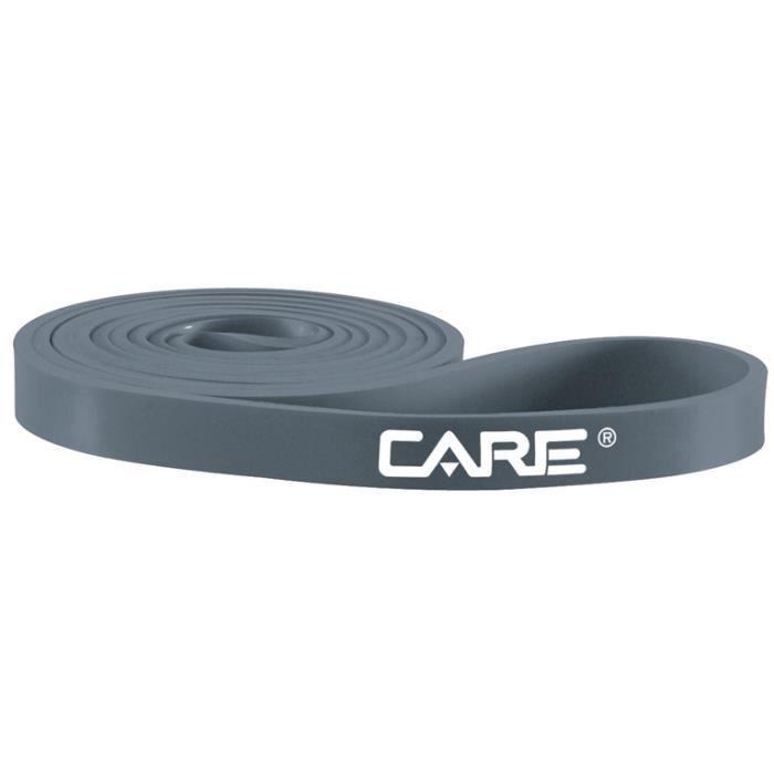 La bande de force grise de Care en latex avec une largeur de 3 cm permet de réaliser des exercices avec une résistance de 11 kg.
