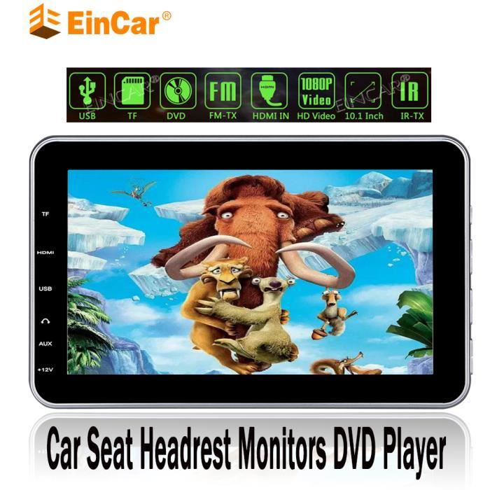 EinCar 10.1- écran numérique ultra-mince Appui-tête Siège d'auto Moniteurs Lecteur DVD Transmetteur USB / SD / Port HDMI intégré Hau