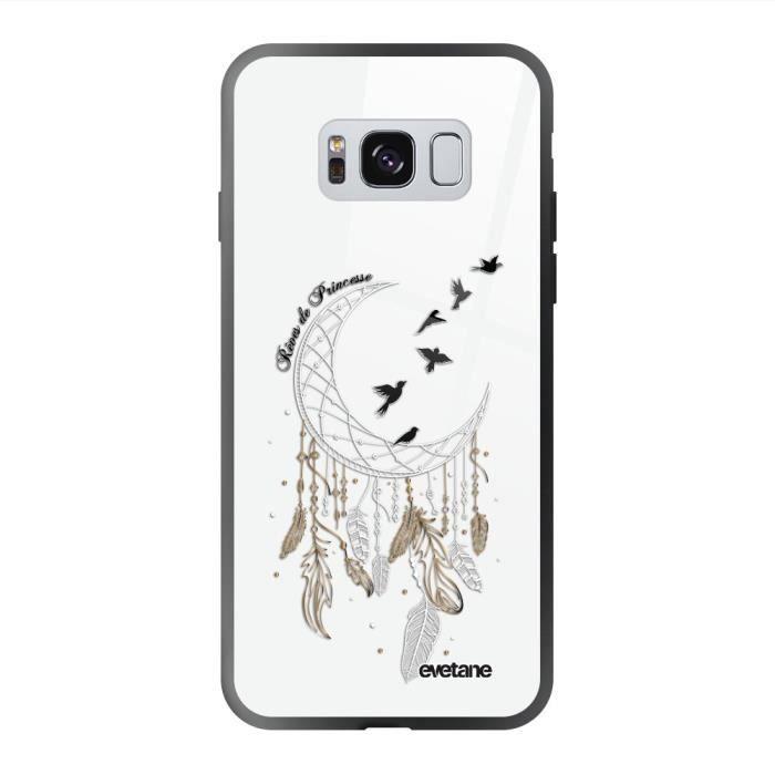 Coque en verre trempé Samsung Galaxy S8 noir Rêves de princesse Ecriture Tendance et Design Evetane