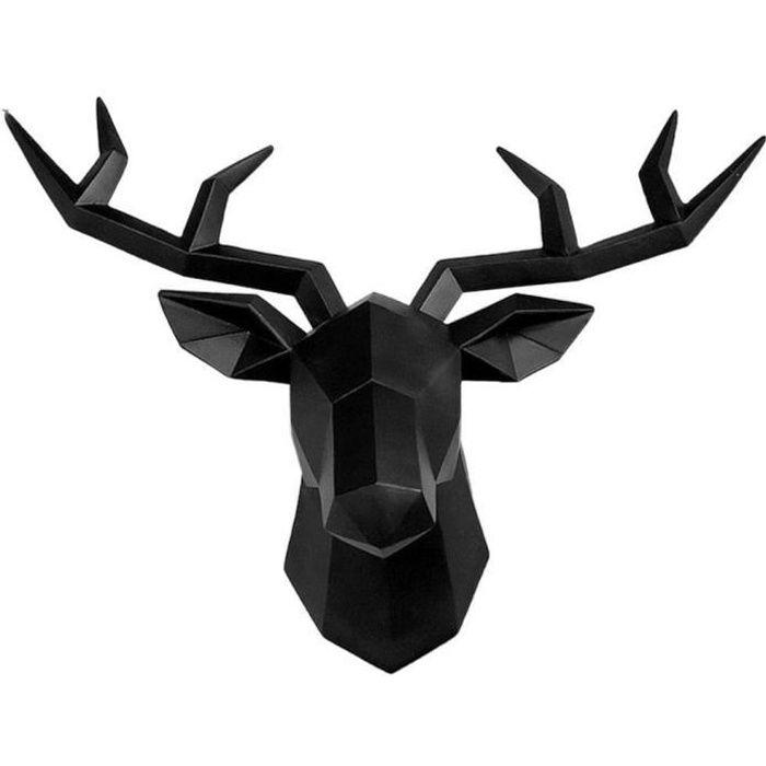 Fablcrew Tête de Cerf SculptureTête d'animal Décoration Murale,Résine Tête de Cerf Statue Deco MuraleTête de Cerf 3DTenture
