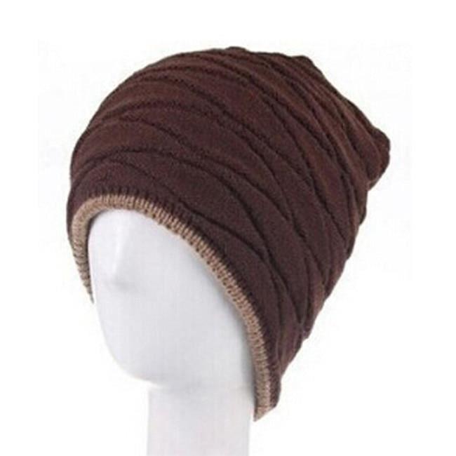 CASQUETTE,Bonnet unisexe hiver Outdooor casquette de course hommes femmes bas chapeau rayure tricoté Hiphop chapeau - Type coffee
