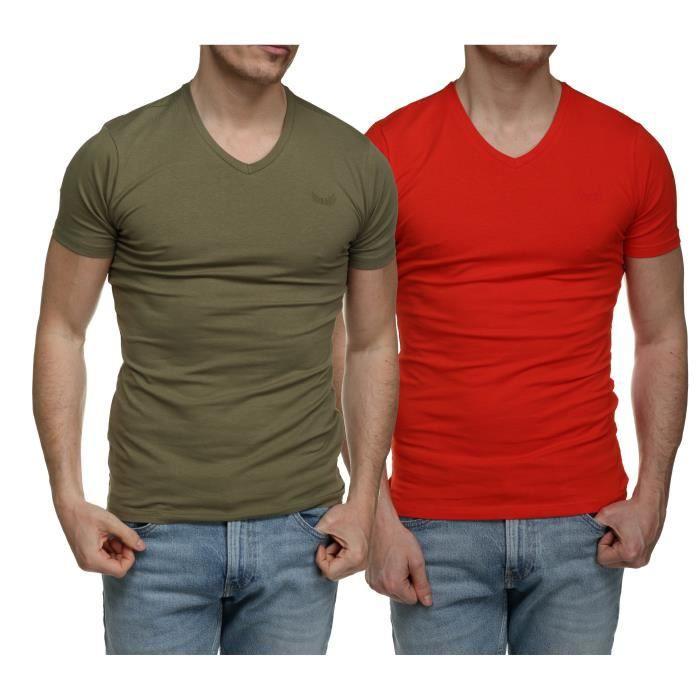 Tee Shirt Kaporal Gift E21 Pack X2 Col V Kaki/f...