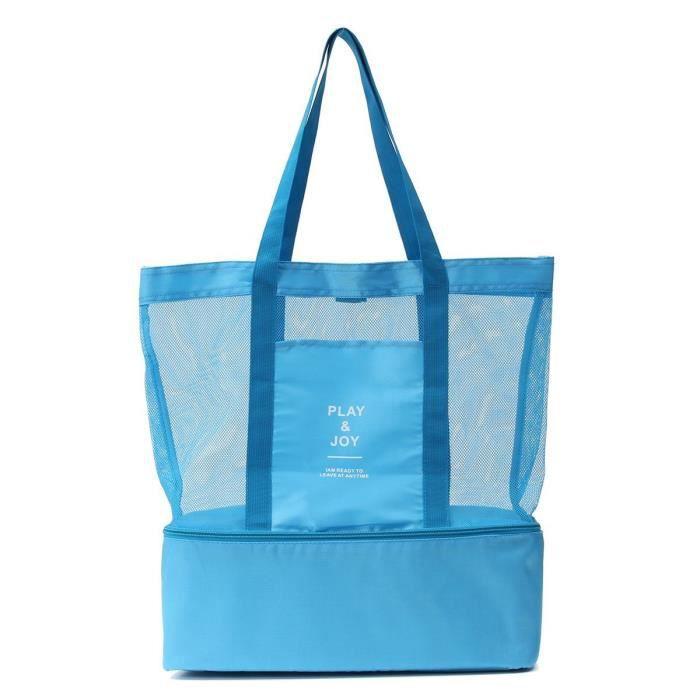 Cabas sac à pique-nique ou à provisions multifonctions pliable et isotherme pour le déjeuner, l'école , la plage et les courses BLEU