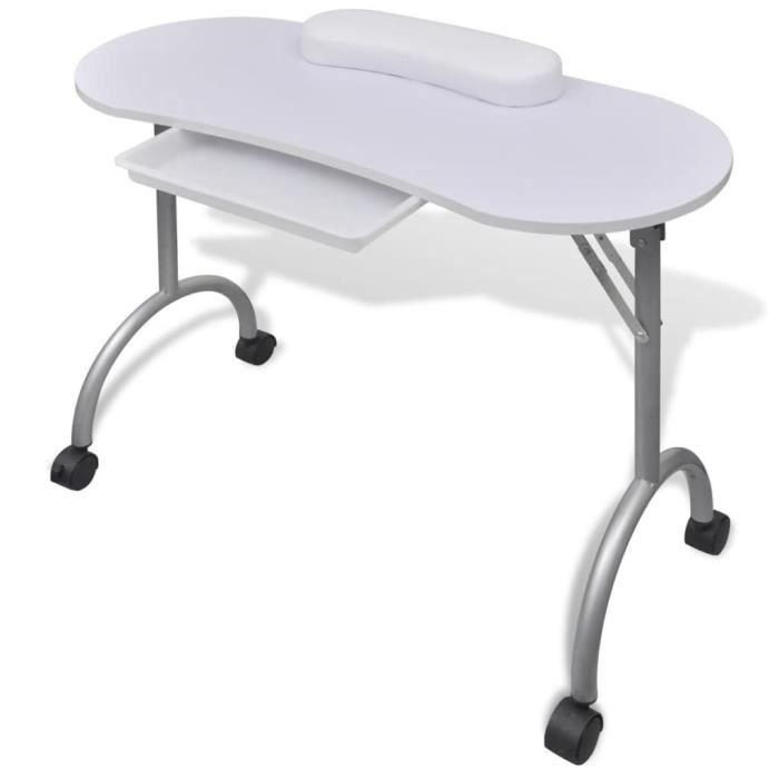 Table de manucure pliante blanche avec roulettes