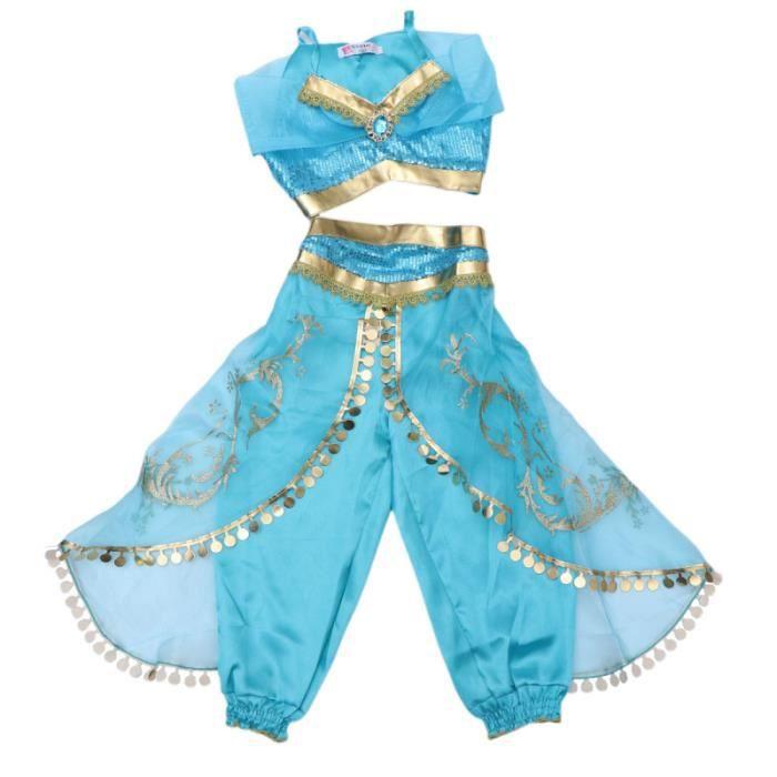 2 pcs Cosplay Princesse Costume Fille Danse Vêtements De Soirée Paillettes Costumes Tops PINCE - BARRETTE - CHOUCHOU - ELASTIQUE