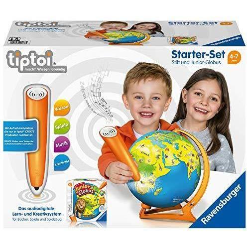 Ravensburger Tiptoi Kit de démarrage 00068 : Stylo et Globe Junior – Système d'apprentissage pour Les Enfants à partir de 4 Ans