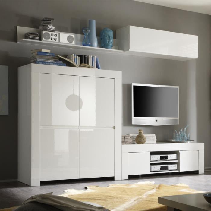 Meuble TV 2 portes 140 cm laqué Blanc brillant - PISA - L 140 x l 50 x H 45