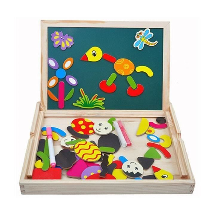 Tribe Puzzles en Bois Magnétique Jouets Educatif avec Tableau Noir Double Face pour Bambin Enfants Garcon Filles 3 4 5 Ans