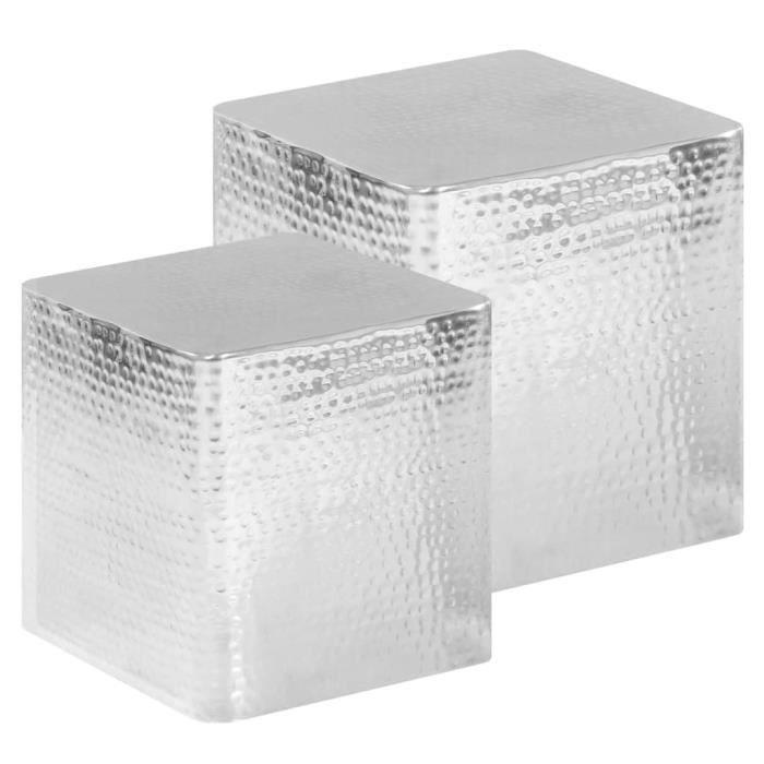 vidaXL Tables basses 2 pcs Argenté Aluminium