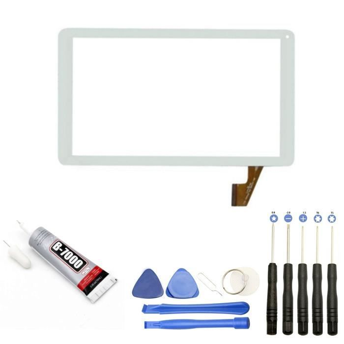Vitre écran tactile compatible avec Tablette Thomson TEO10R TEO10R-BK16C SPTEO10BK16 TEO10R-WH8CD 10.1- Blanche + outils + Colle