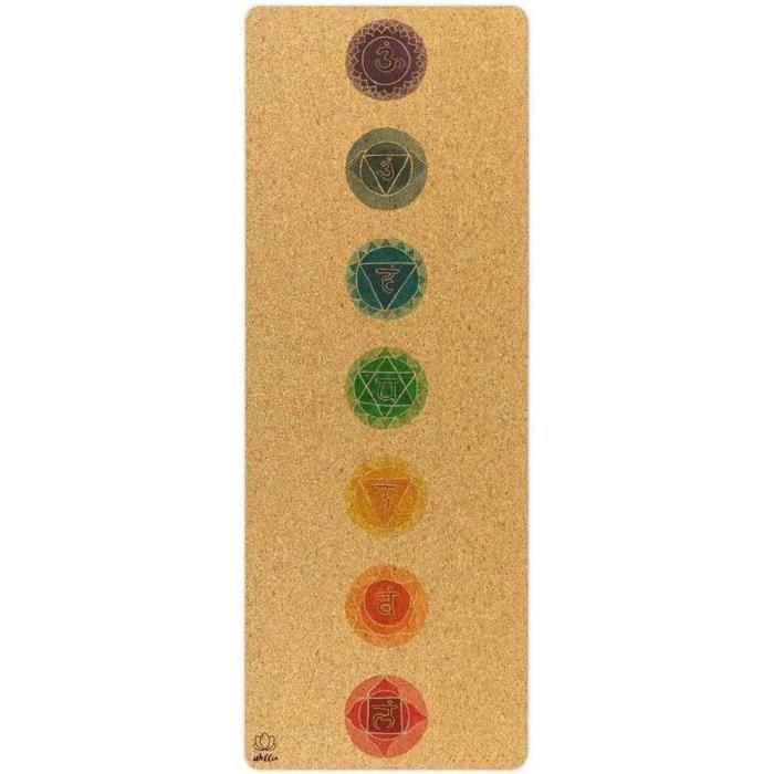Tapis Chakra en liège Naturel 100% écologique 183cm x 63 cm x 5mm épais, Non Toxique pour Yoga, Pilates, aérobic, Fitness
