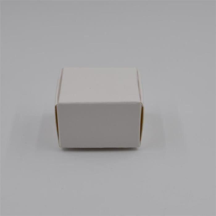 WHITE-4x4x2.5cm -Boîte cadeau Kraft en papier brun-noir,petite boîte à savon en Carton Kraft,Mini boîte à bijoux,emballage en Car
