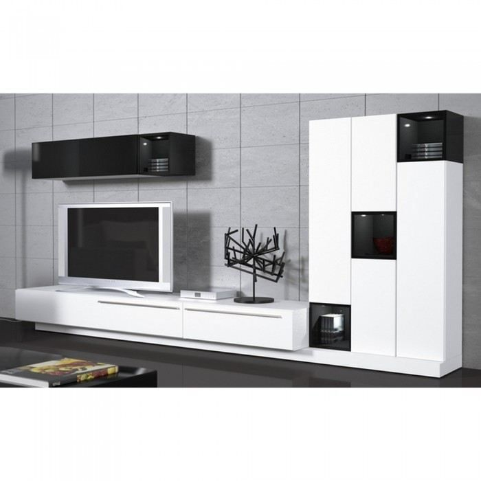 Meuble mural tv black or white couleur blanc ma achat for Meuble mural informatique