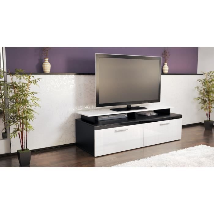 meuble tv bas noir et blanc laqu 140 cm achat vente meuble tv meuble tv bas noir et blanc. Black Bedroom Furniture Sets. Home Design Ideas