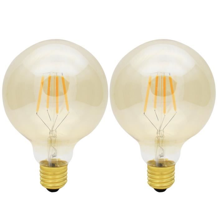 2x e27 ampoule edison vintage dimmable 4w lampe filament led edison retro g95 blanc chaud. Black Bedroom Furniture Sets. Home Design Ideas