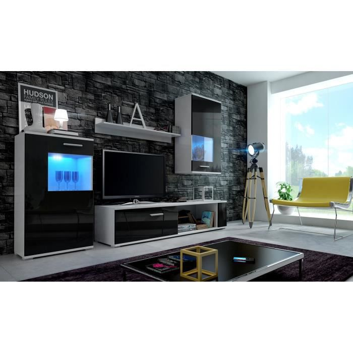 MEUBLE TV MURAL Meuble de salon, meuble TV complet FOX blanc mat /