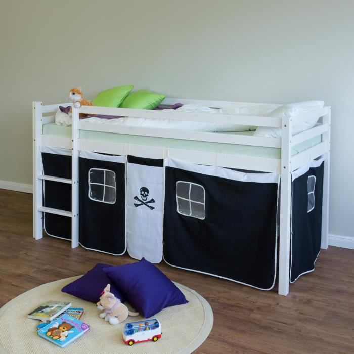 lit superpos enfant noir et blanc chelle et rideaux achat vente structure de lit lit. Black Bedroom Furniture Sets. Home Design Ideas