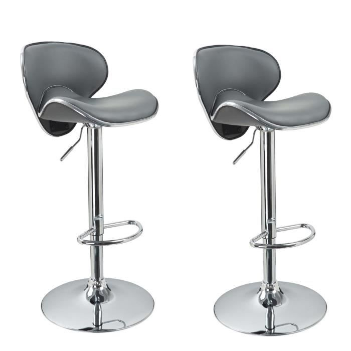 Lot de 2 tabourets de bar design simili cuir gris achat for Housse de tabouret de bar
