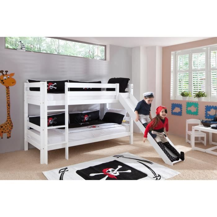 lit superpos avec toboggan coloris blanc achat vente. Black Bedroom Furniture Sets. Home Design Ideas