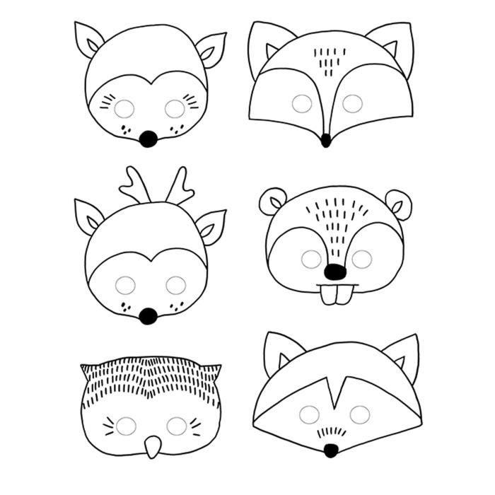 6 Masques A Colorier Foret Achat Vente Jeu De Coloriage