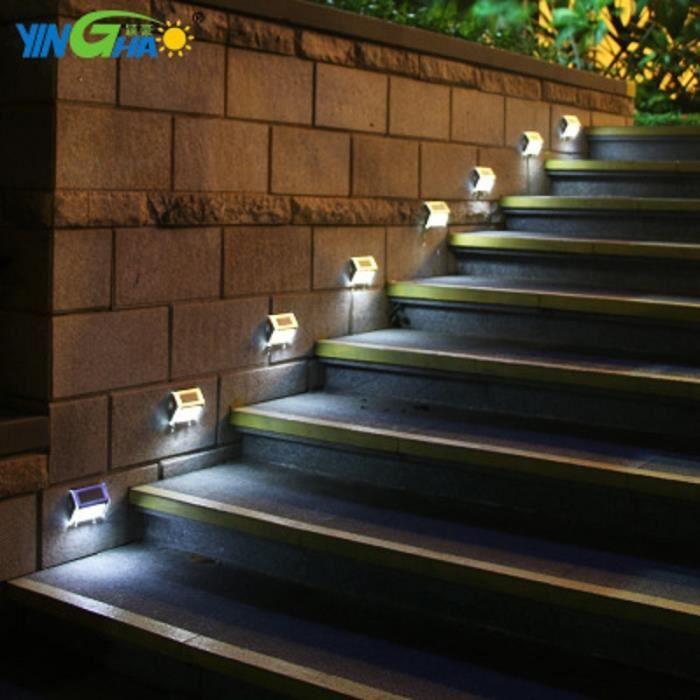 APPLIQUE   2pcs L ED solaire pelouse lampe escaliers de jard