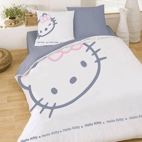 housse de couette hello kitty 140x200 cm taie achat vente parure de couette cdiscount. Black Bedroom Furniture Sets. Home Design Ideas