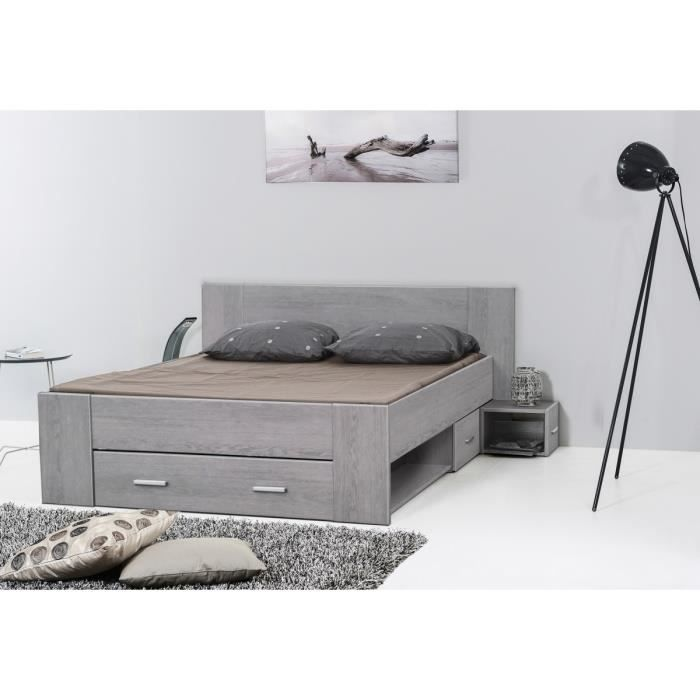 keyton lit adulte 140x190 cm gris avec rangements achat. Black Bedroom Furniture Sets. Home Design Ideas