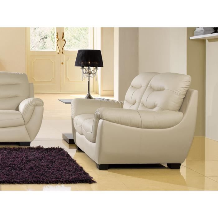 canape cuir beige 2 places coral achat vente canap sofa divan cdiscount. Black Bedroom Furniture Sets. Home Design Ideas
