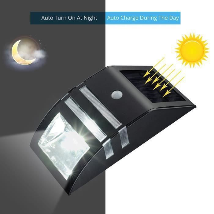 lampe solaire 3 led d tecteur de mouvement etanche d 39 ext rieur nergie solaire de d 39 clairage. Black Bedroom Furniture Sets. Home Design Ideas