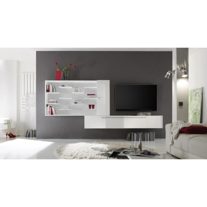 composition tv murale design laqu e blanche gibraltar achat vente meuble tv composition tv. Black Bedroom Furniture Sets. Home Design Ideas