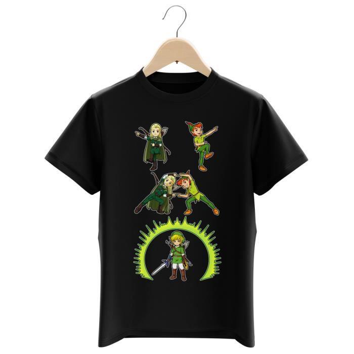 T-SHIRT T-shirt Enfant Noir Zelda parodique Link, Peter Pa