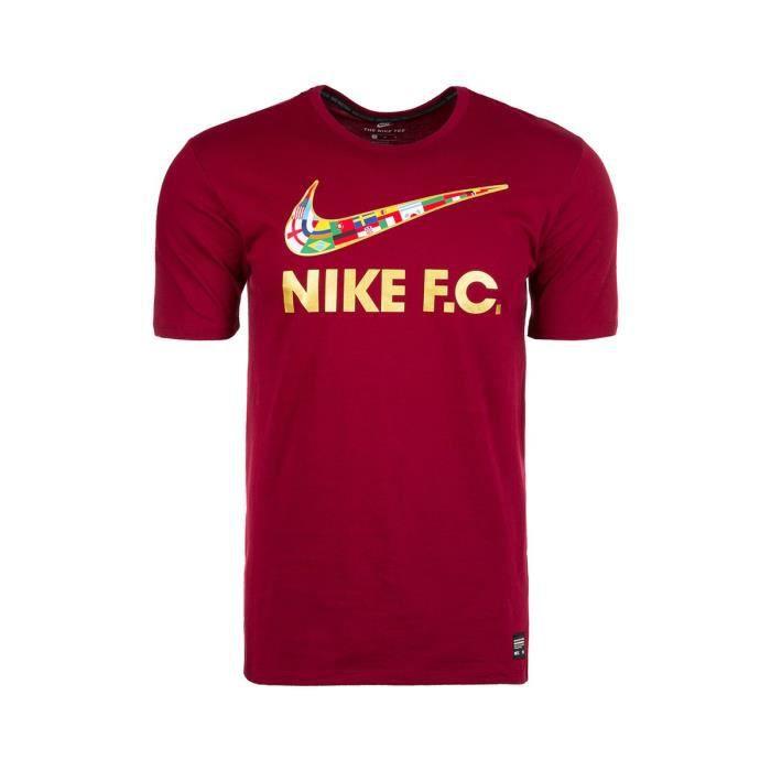super cute pretty cool classic styles Tee-shirt Nike FC Swoosh Flag - 911400-677 Rouge - Achat ...
