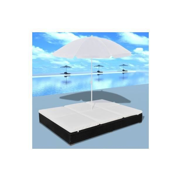 superbe bain de soleil double en rotin avec parasol noir achat vente parasol superbe bain de. Black Bedroom Furniture Sets. Home Design Ideas
