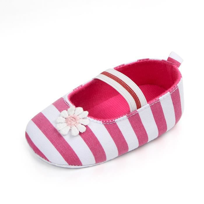 Souples Girls Chaussures Rose Flower Anti Bb Sole Enfants slip Baby Stripe qUHaxOwf